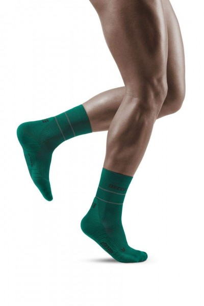 CEP Reflective Mid Cut Socks Herren Compression Laufsocke - Grün - WP5CGZ