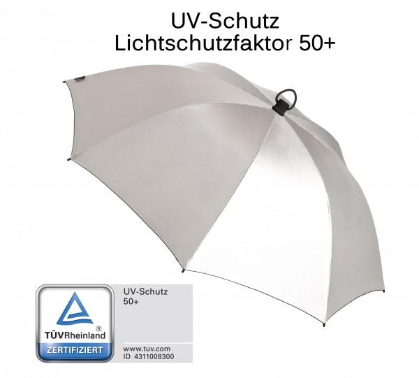 Euroschirm Swing handsfree - Der erste echte handfreie Trekking-Stockschirm - Regenschirm -  W2H6- Silber UV Schutz 50+