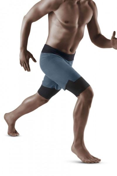 CEP Run 2in1 Shorts 3.0 Herren Laufshorts mit Kompression in Grau - W9112K