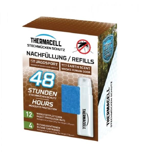 Thermacell Nachfüllpack 48h für die Jagd, enthält 4 x Gaskartuschen und 12 x Wirkstoffplättchen