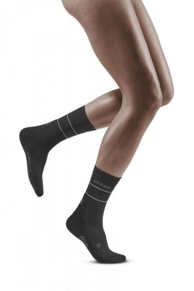 CEP Reflective Mid Cut Socks Damen Compression Laufsocke - Schwarz - WP4C5Z