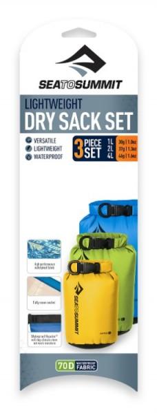 Sea to Summit Lightweight 70D Dry Sack 3 Stück Set Blau Grün Rot