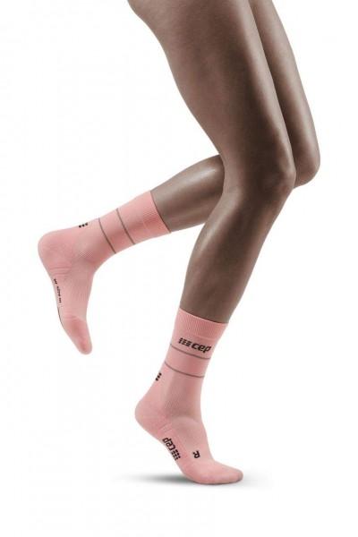 CEP Reflective Mid Cut Socks Damen Compression Laufsocke - Light Rose - WP4C1Z