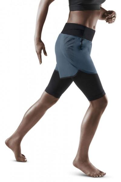 CEP Run 2in1 Shorts 3.0 Damen Laufshorts mit Kompression in Grau - W9A12K