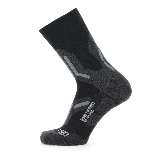UYN Herren Trecking 2in Merino Mid Socken - S100237 Black/Grey