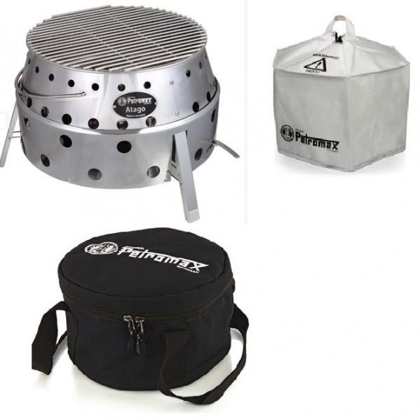 Petromax Set bestehend aus: Atago Grill, Umluftkuppel und Transporttasche