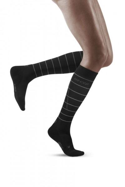 CEP Reflective Socks Damen Compression Laufsocke - Schwarz - WP405Z