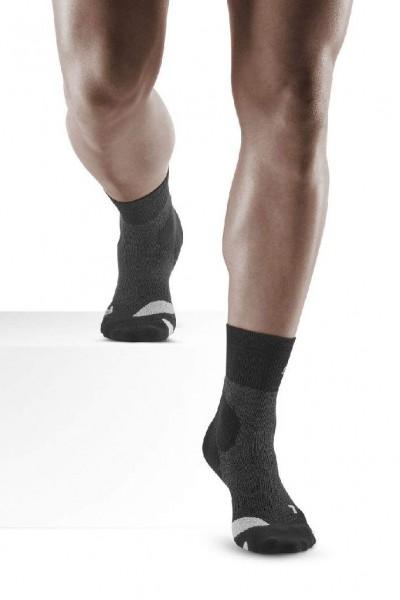 CEP Hiking Merino Compression Mid Cut Socks - Herren Kompressions Wandersocke - WP3CA4 stonegrey/grey