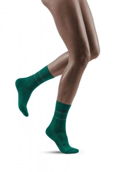 CEP Reflective Mid Cut Socks Damen Compression Laufsocke - Grün - WP4CGZ