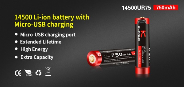 Klarus 750 mAh Batterie - 14500UR75
