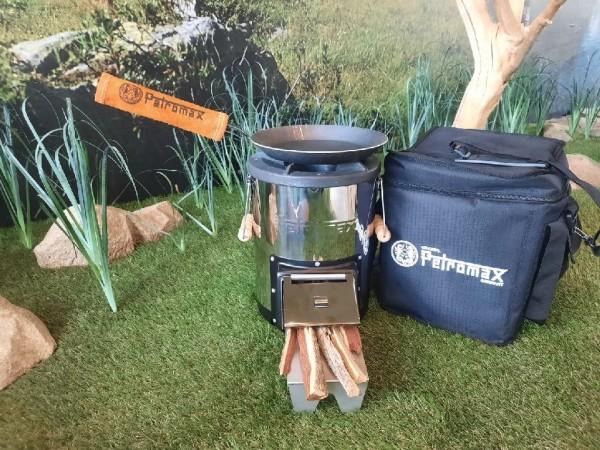 Petromax Raketenofen Set inkl. Pfanne 24 cm, Aramid Griffhülle und Raketenofentasche