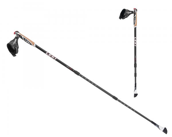 Leki Smart Traveller Carbon Nordic Walking Stöcke, verstellbar 90-130cm - Farbe Schwarz / Weiss - 6402606