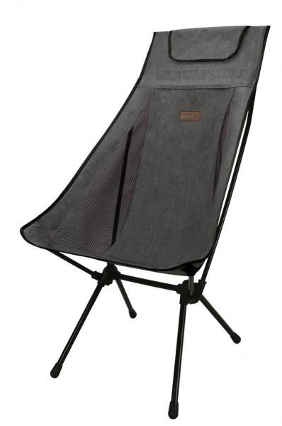 Snowline Chair Pender Wide Dark Grey, Faltstuhl mit hoher Lehne, bequemer Campingstuhl - 3919-700