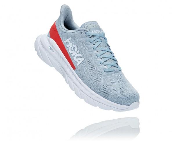 Hoka Mach 4 Damen Laufschuh Neutral - 1113529-BFHC Farbe  Blue Fog / Hot Coral