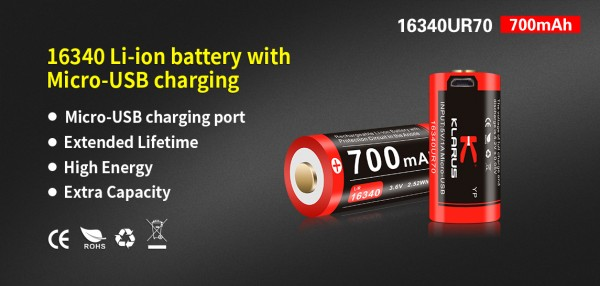 Klarus 700 mAh Batterie - 16340UR70