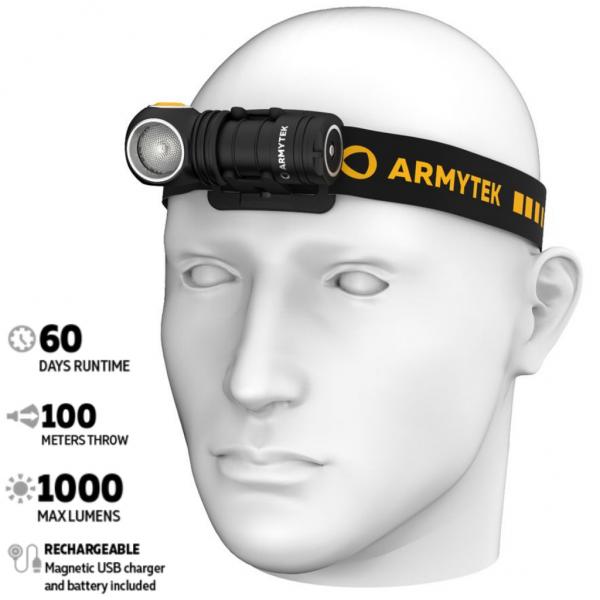 Armytek Wizard C1 Pro Magnet USB, 1000 Lumen LED Taschenlampe - Stirnlampe (kaltes Licht) - F09001C