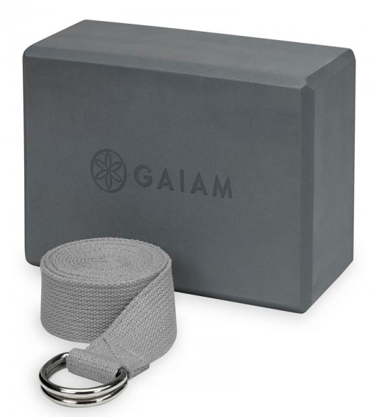 Gaiam Yoga Block Kombi Gurt und Block Combo Block/Strap Grey Grau