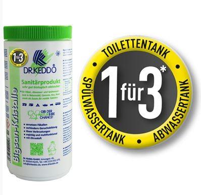 Dr.Keddo Sanitärkristalle Bigsan Sanitär Zusatzmittel 3 in 1 für Caravan, Reisemobil 1 kg