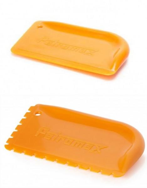 Petromax Schaber gelb für Feuertöpfe, Pfannen und Gusseisen - mit und ohne Rillen