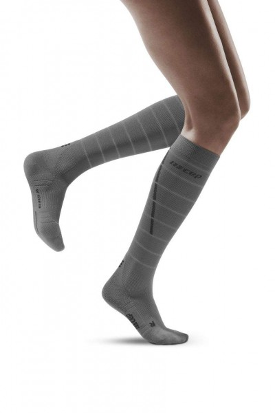 CEP Reflective Socks Damen Compression Laufsocke - Grau - WP402Z
