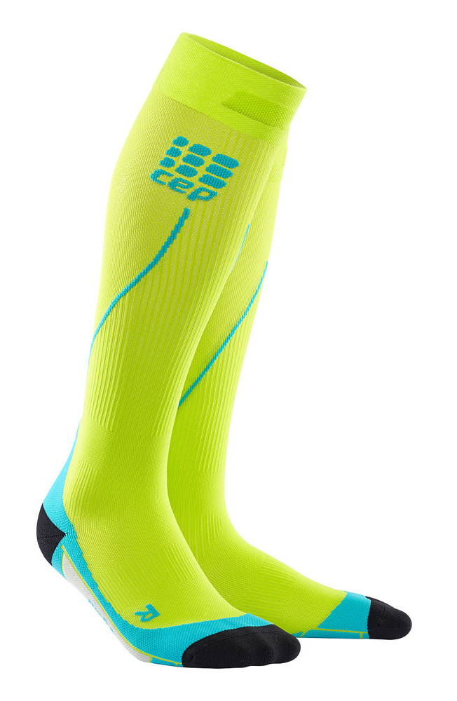 CEP Herren Kompressionssocken Run Socks 2.0 - lime-hawaii blau