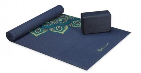 Gaiam Classic Yoga Mat Kit Cushion Support Kit Midnight Capri 4 mm Set mit Block