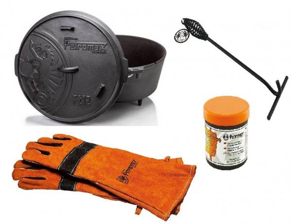 Petromax Feuertopf FT12 Set mit Aramid Handschuhe, Deckelheber und Einbrennpaste